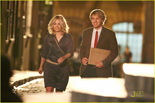 "43107, PARIS, FRANCE - Thursday July 29 2010. Owen Wilson and Rachel McAdams on the set Woody Allen's new film ""Midnight in Paris"" - a romantic period comedy which is set for release in 2011.-**UK & NORTH AMERICAN USE ONLY** Photograph: PacificCoastNews.com**FEE MUST BE AGREED PRIOR TO USAGE** **E-TABLET/IPAD & MOBILE PHONE APP PUBLISHING REQUIRES ADDITIONAL FEES** UK OFFICE:+44 131 557 7760/7761 US OFFICE:1 310 261 9676"